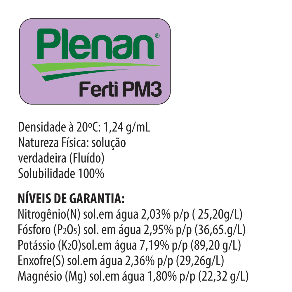 Plenan Ferti PM3 - Solução Nutritiva - Adubo Liquido