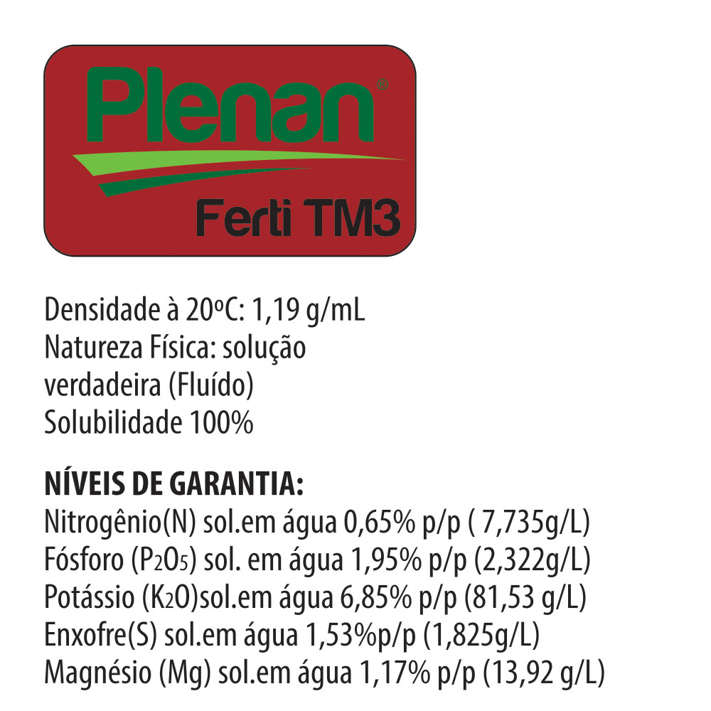 Plenan Ferti TM3 - Solução Nutritiva - Adubo Liquido